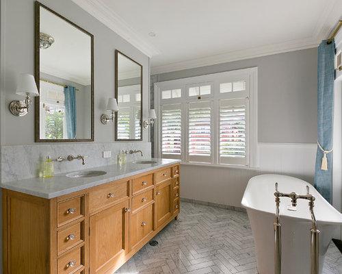 traditional bathroom designs. Traditional Bathroom In Sydney With An Undermount Sink, Furniture-like Cabinets, Medium Wood Designs O