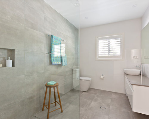 Inspiration For A Beach Style 3/4 Bathroom In Sydney With Flat Panel  Cabinets