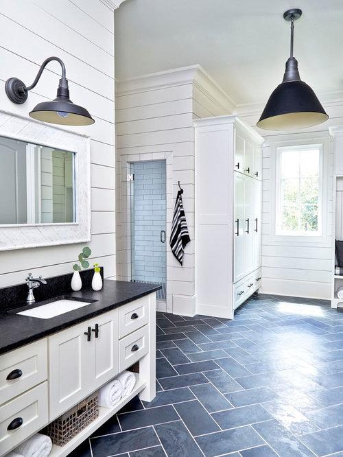 Bagno in campagna con piastrelle nere foto idee for Piastrelle bagno bianche e nere