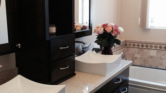 Maple double sink vanity , hutch and medicine cabinets