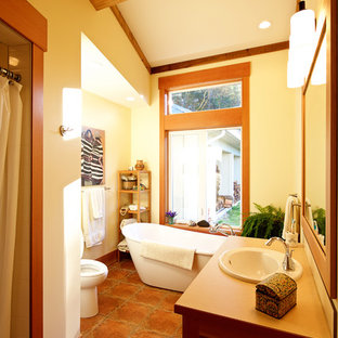 Medium Sized Rustic Ensuite Bathroom In Vancouver With A Built Sink Shaker Cabinets