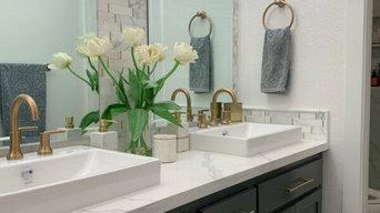 Marble & Brass Contemporary Bathroom Remodel
