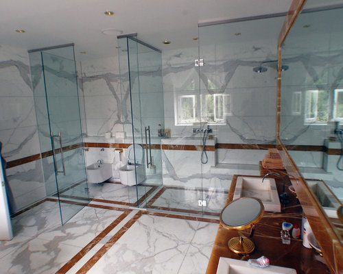 Marble Bathroom Ideas To Create A Luxurious Scheme: Bookmatched Stone Design Ideas & Remodel Pictures