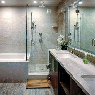Marble Bathroom - Mid-Century Open Floor Plan with View Deck