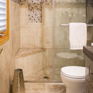 Foto di una piccola stanza da bagno con doccia minimalista con ante lisce, ante grigie, doccia ad angolo, WC a due pezzi, piastrelle multicolore, pareti multicolore, lavabo integrato, top in cemento, pavimento beige e porta doccia scorrevole