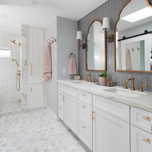 example of a mid sized transitional master gray tile and glass tile marble floor and - Gray Tile Bathroom