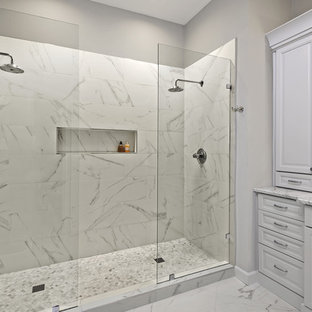 Example of a large classic master white tile and porcelain tile porcelain floor and white floor bathroom design in Dallas with beaded inset cabinets, white cabinets, gray walls, an undermount sink and granite countertops