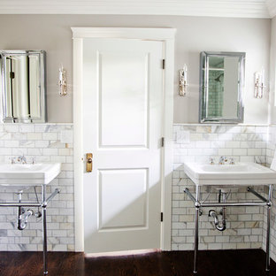 Bathroom - traditional marble tile bathroom idea in Salt Lake City with a console sink
