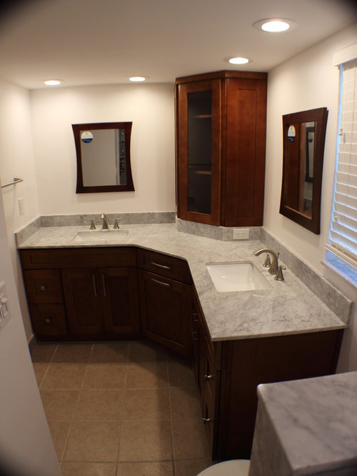 L shaped vanity houzz for Bathroom l shaped vanities