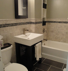 contemporary bathroom Marble Subway Tile Bathroom