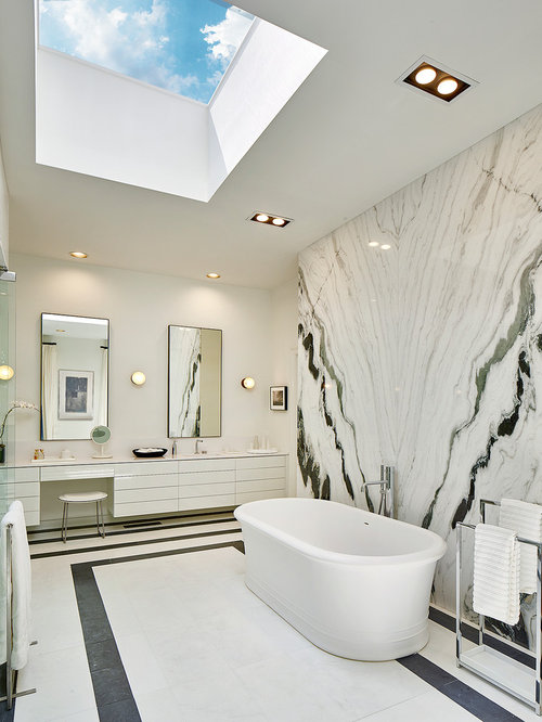 Inspiration For A Huge Modern Master Black And White Tile And Glass Sheet  Marble Floor And