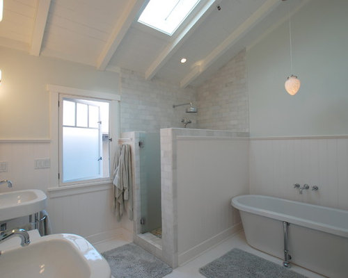 Inspiration For A Tropical Subway Tile Bathroom Remodel In Orange County  With A Wall Mount