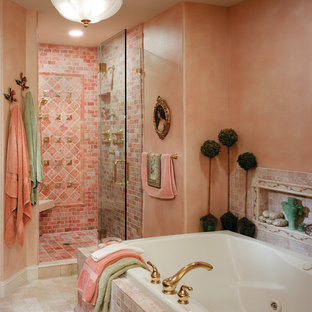 Tuscan master orange tile and pink tile marble floor and beige floor bathroom photo in Philadelphia with a one-piece toilet, orange walls, an undermount sink, marble countertops and a hinged shower door