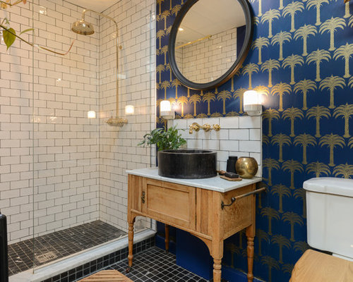 inspiration for a small eclectic shower room in kent with a two piece toilet - Shower Room Design Ideas