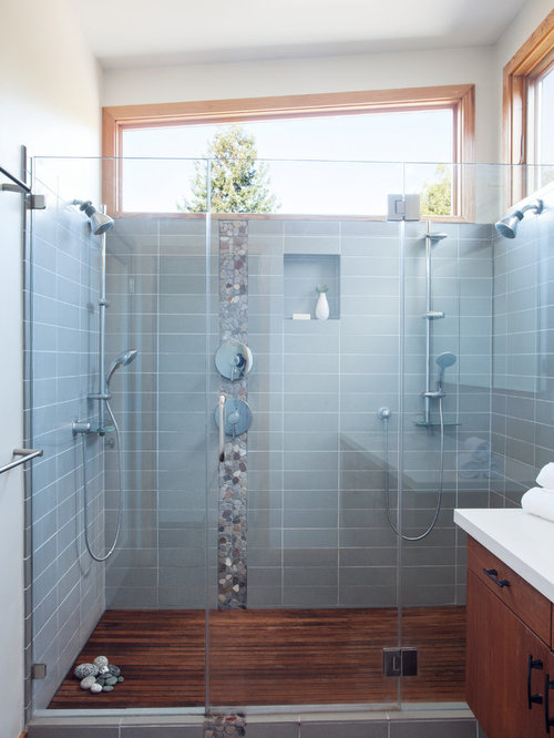 Great Double Shower   Mid Sized Contemporary Master Gray Tile And Ceramic Tile  Ceramic Floor Double