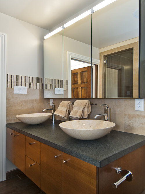 Modren Mirrored Medicine Cabinets Photo In San Francisco With A Vessel Sink Flatpanel Intended Decorating