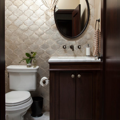 Example of a small tuscan 3/4 ceramic tile and gray tile marble floor bathroom design in San Francisco with an undermount sink, shaker cabinets, dark wood cabinets, marble countertops, beige walls and a two-piece toilet