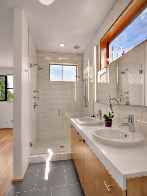 Bathroom Design Ideas Renovations Photos With Medium Wood Cabinets And Subway Tile