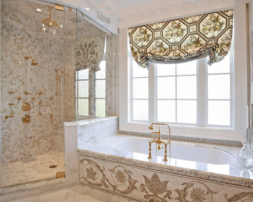Inspiration For A Timeless Multicolored Tile And Mosaic Tile Corner Shower  Remodel In Atlanta With An