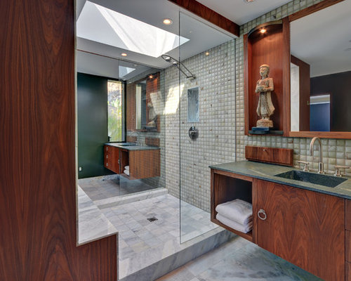 Inspiration For A Zen Bathroom Remodel In Los Angeles With An Integrated  Sink And Green Countertops