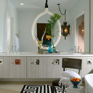 Example of a 1950s bathroom design in Los Angeles with flat-panel cabinets and gray cabinets