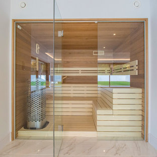 Design ideas for a contemporary sauna bathroom in Dorset with brown walls and beige floors.