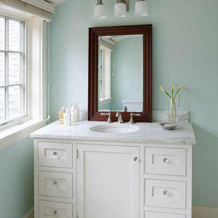 Inspiration for a beach style bathroom in Boston with an undermount sink.