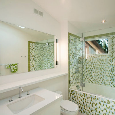 Example of a trendy mosaic tile tub/shower combo design in Sacramento with an undermount sink