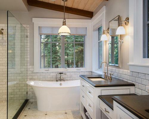 Rustikale Badezimmer Fotos : Rustikale badezimmer mit offener dusche ideen für die