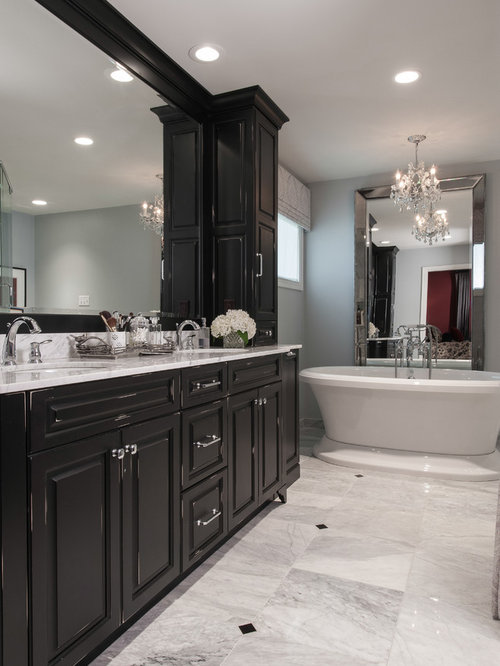 Superior Mid Sized Traditional Master Marble Floor Freestanding Bathtub Idea In St  Louis With An Undermount