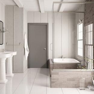 Freestanding bathtub - large modern master white tile freestanding bathtub idea in Tampa