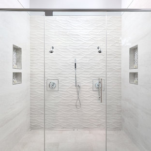Massive White Tile Shower for Two