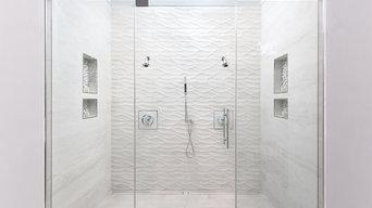 Massive White Tile Shower for Two