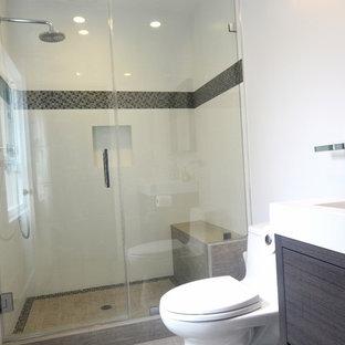 Foto di una piccola stanza da bagno con doccia minimalista con ante a filo, ante in legno bruno, doccia aperta, WC monopezzo, piastrelle multicolore, pareti bianche, parquet chiaro, lavabo da incasso e top in quarzite