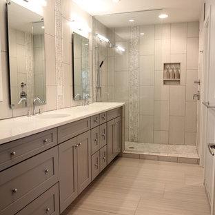 75 most popular contemporary bathroom with grey tiles