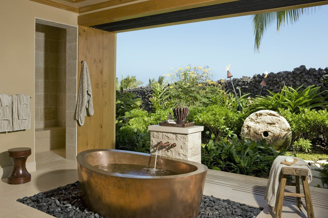 Tropical Bathroom by Saint Dizier Design