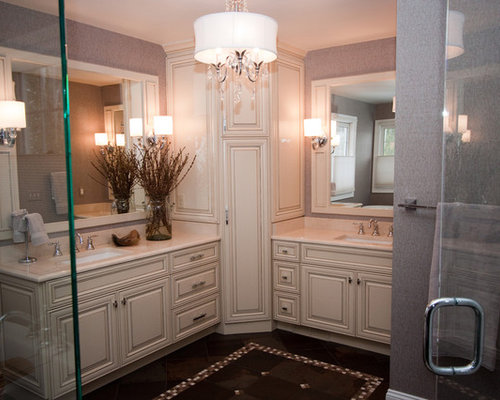 salle de bain romantique avec des dalles de pierre photos et id es d co de salles de bain. Black Bedroom Furniture Sets. Home Design Ideas