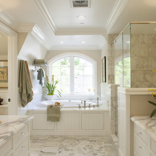 Inspiration for a timeless marble tile toilet room remodel in San Francisco with marble countertops and a vessel sink