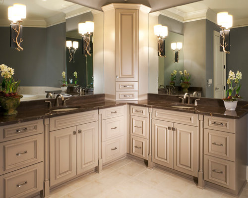 corner double sink bathroom vanity l shaped bathroom houzz 23006