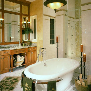 Freestanding bathtub - traditional freestanding bathtub idea in Miami