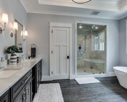 Craftsman Bathroom With An Integrated Sink Ideas Designs - Integrated sink countertop bathroom for bathroom decor ideas