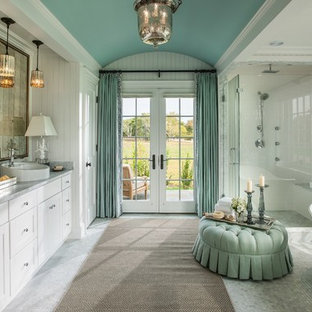 Inspiration for a large timeless master multicolored tile and mosaic tile mosaic tile floor bathroom remodel in Miami with shaker cabinets, white cabinets, a vessel sink, marble countertops and white walls