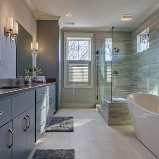Example of a trendy master gray tile ceramic floor bathroom design in Nashville with an undermount sink, flat-panel cabinets, gray cabinets and gray walls