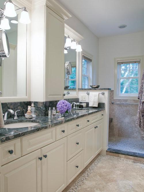 Elegant Master Multicolored Tile Limestone Floor Doorless Shower Photo In Bridgeport With Raised Panel Cabinets
