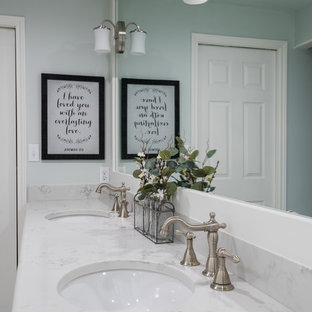 Bathroom - mid-sized country master white tile and ceramic tile ceramic floor and white floor bathroom idea in Dallas with shaker cabinets, white cabinets, a one-piece toilet, an undermount sink, green walls and engineered quartz countertops