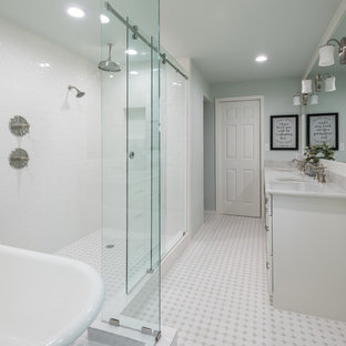 Mid-sized farmhouse master white tile and ceramic tile ceramic floor and white floor bathroom photo in Dallas with shaker cabinets, white cabinets, a one-piece toilet, green walls, an undermount sink and engineered quartz countertops