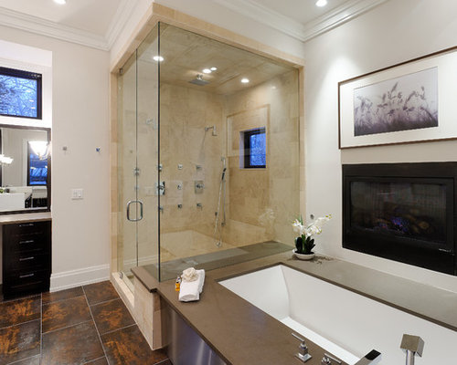 Master Bathroom Fireplace Houzz