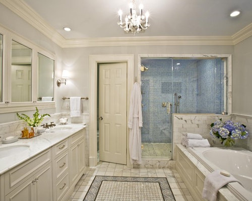 Large Elegant Master Gray Tile And Stone Tile Bathroom Photo In New York  With An Undermount
