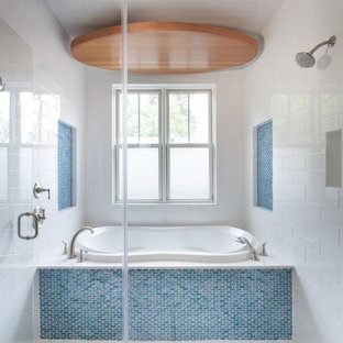 Trendy blue tile and mosaic tile bathroom photo in Austin