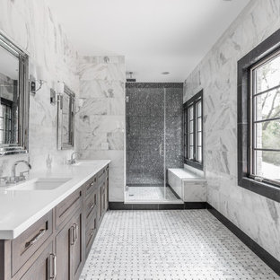 Inspiration for a huge transitional master white tile mosaic tile floor and white floor alcove shower remodel in Indianapolis with shaker cabinets, dark wood cabinets, an undermount sink, a hinged shower door, multicolored walls, quartzite countertops and white countertops